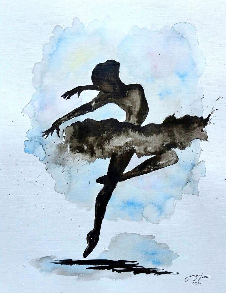 """Quiero compartir lo último que he añadido a mi tienda de #etsy: Original Ballerina Painting 11""""x14"""" India ink"""