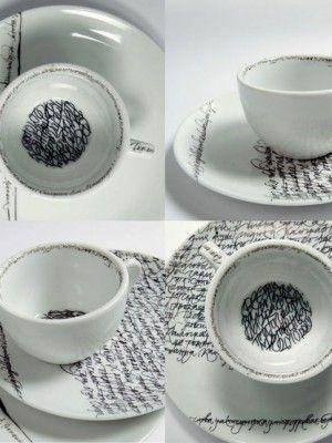 Typography dishes: China Patterns, Teas Time, Songs Lyrics, Art, Fun Ideas, Ceramics, Teas Sets, Coff Cups, Teacups