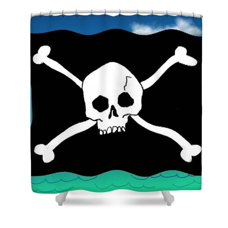 Quirky Skull and X Bones shower curtain