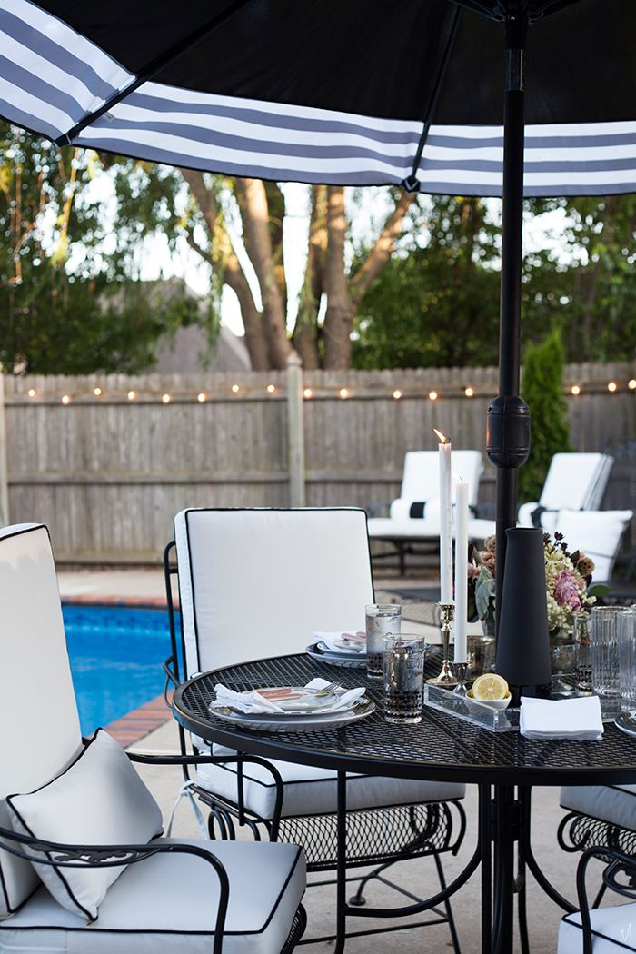 The Makerista: Black and White Outdoor Entertaining Poolside