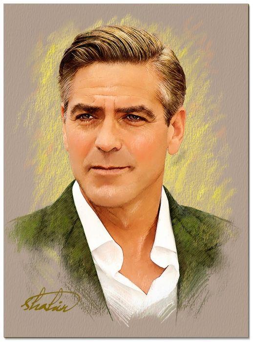 George Clooney By Shahin Celebrities Movie Stars In