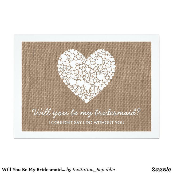 Will You Be My Bridesmaid? Burlap Heart Card