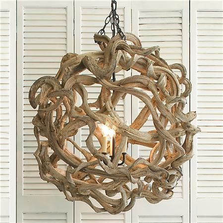 .An imaginative surprise in natural wood. Renewable twisted vines, woven into an oversized orb, produce a soft organic masterpiece that travels from shore to loft!