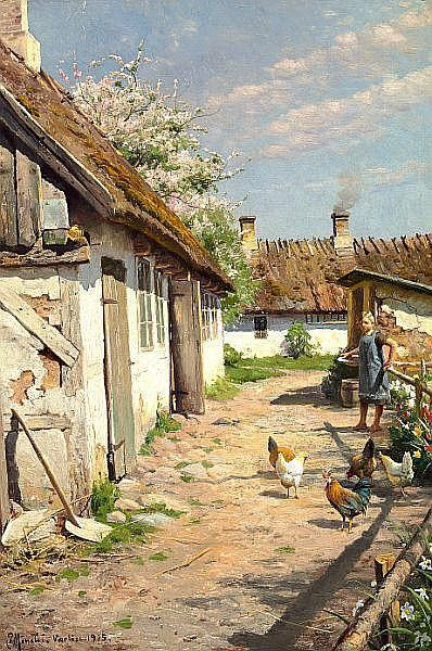Summer day outside a farmhouse. Signed and dated P. Mønsted Værløse 1915. Oil on canvas. 60 x 40 cm.