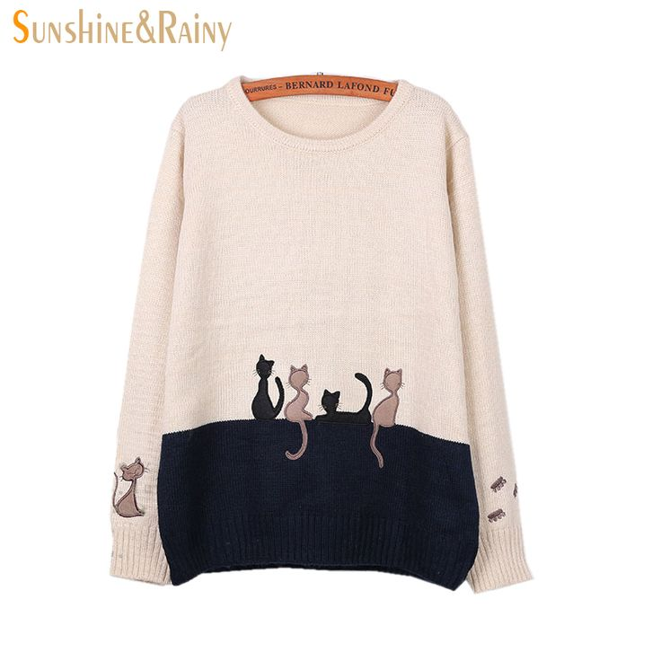 Original Price US $17.99 Sale Price US $13.67 2016 Autumn Winter Women Long Sleeve cat embroidery Splice Casual Pullover underwear Sweaters For Girls Pullovers Tops 15 minutes a day to grow your business #pullovers_sweaters