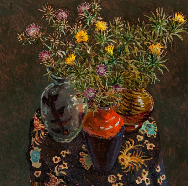 Thistles II 2014 oil on board 60 x 60cm by Lucy Culliton
