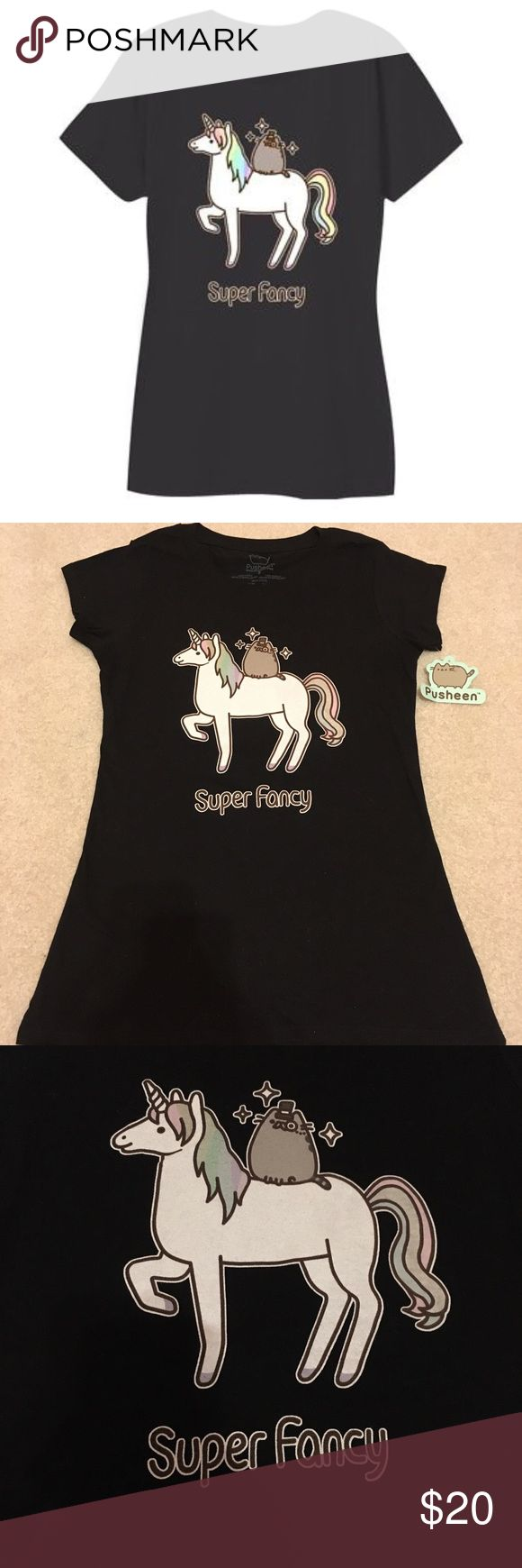 Pusheen Super Fancy Tee NWT authentic Pusheen shirt  Cute pusheen shirt with Pusheen riding a unicorn!  100% cotton  Shirt is too small for me, looking to sell.  Size small Pusheen Tops Tees - Short Sleeve