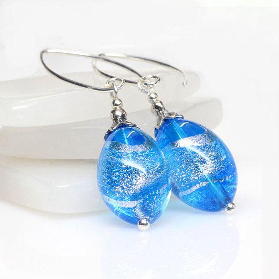 Aqua Silver Venetian Murano Glass Earrings Sterling Silver