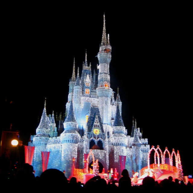 Disney Castle Christmas- Add fireworks and it makes the perfect engagement spot :)