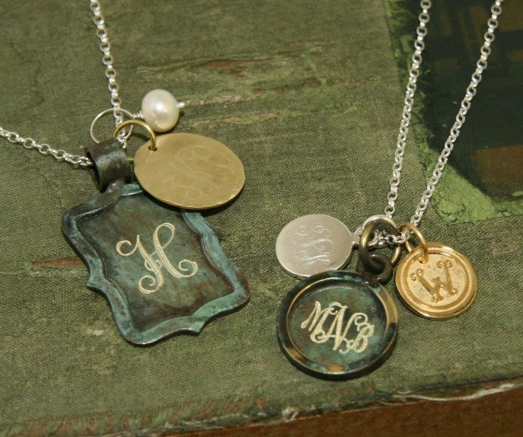 Generations charm necklaces from Initial Outfitters.  Love! <3: Vintage Chic, Charms Necklaces, Vintage Monograms, Initials Outfitters, Rustic Charms, Kids Names, Anniversaries Date, Vintage Charms, Initials Necklaces