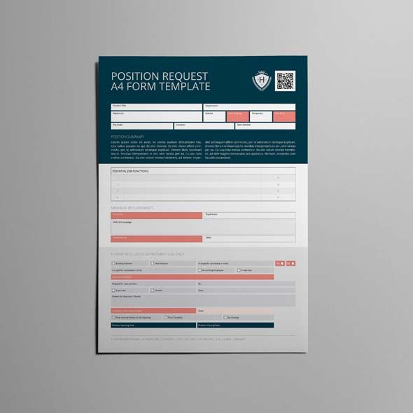 Position Request A4 Form Template | CMYK & Print Ready | Clean and Corporate Design | A4 Portrait Format | Single Page Design | Easily color change (Global Swatch)