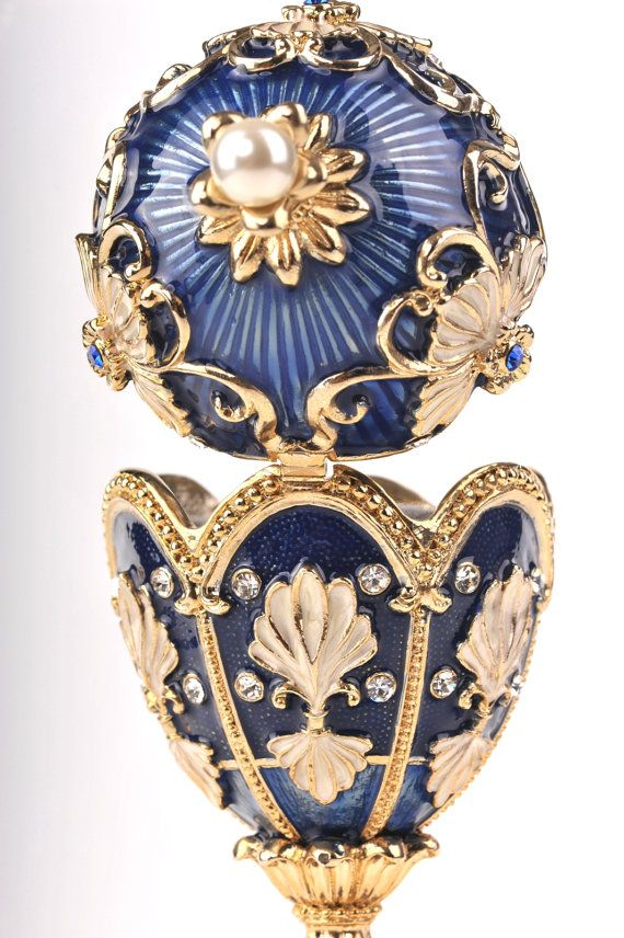 Music Playing Blue Faberge Egg Trinket Box with a Pearl on Top