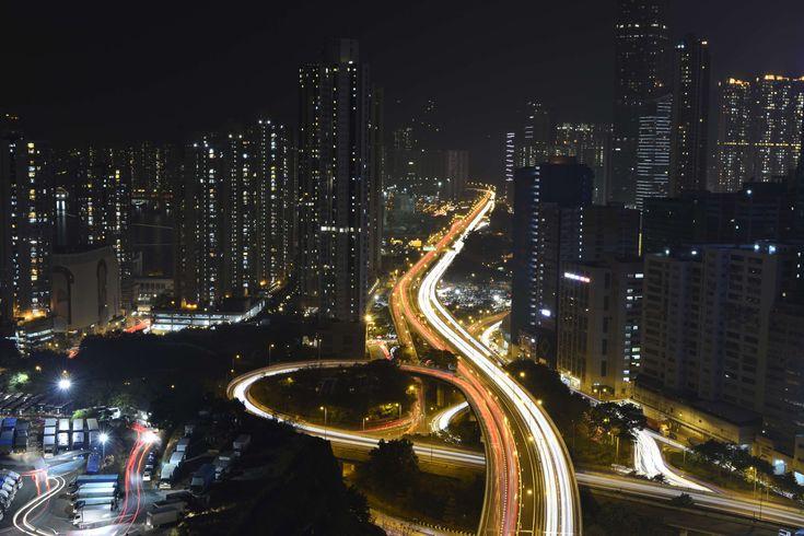 #architecture #asia #blur #buildings #business #city #cityscape #downtown #dusk #evening #finance #highway #hong kong #hongkong #illuminated #landscape #light #light rail #light streaks #lights #long exposure #metropo