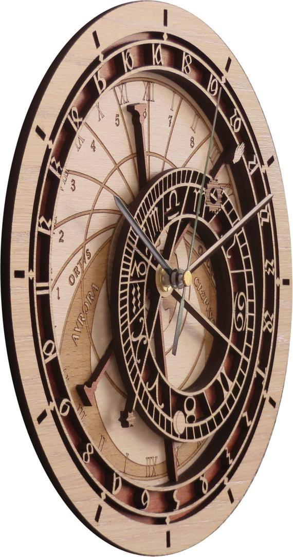 Prague Astronomical Clock In Wood Limited Production Maquinaria De Reloj Reloj Pared Vintage Reloj Astronómico De Praga