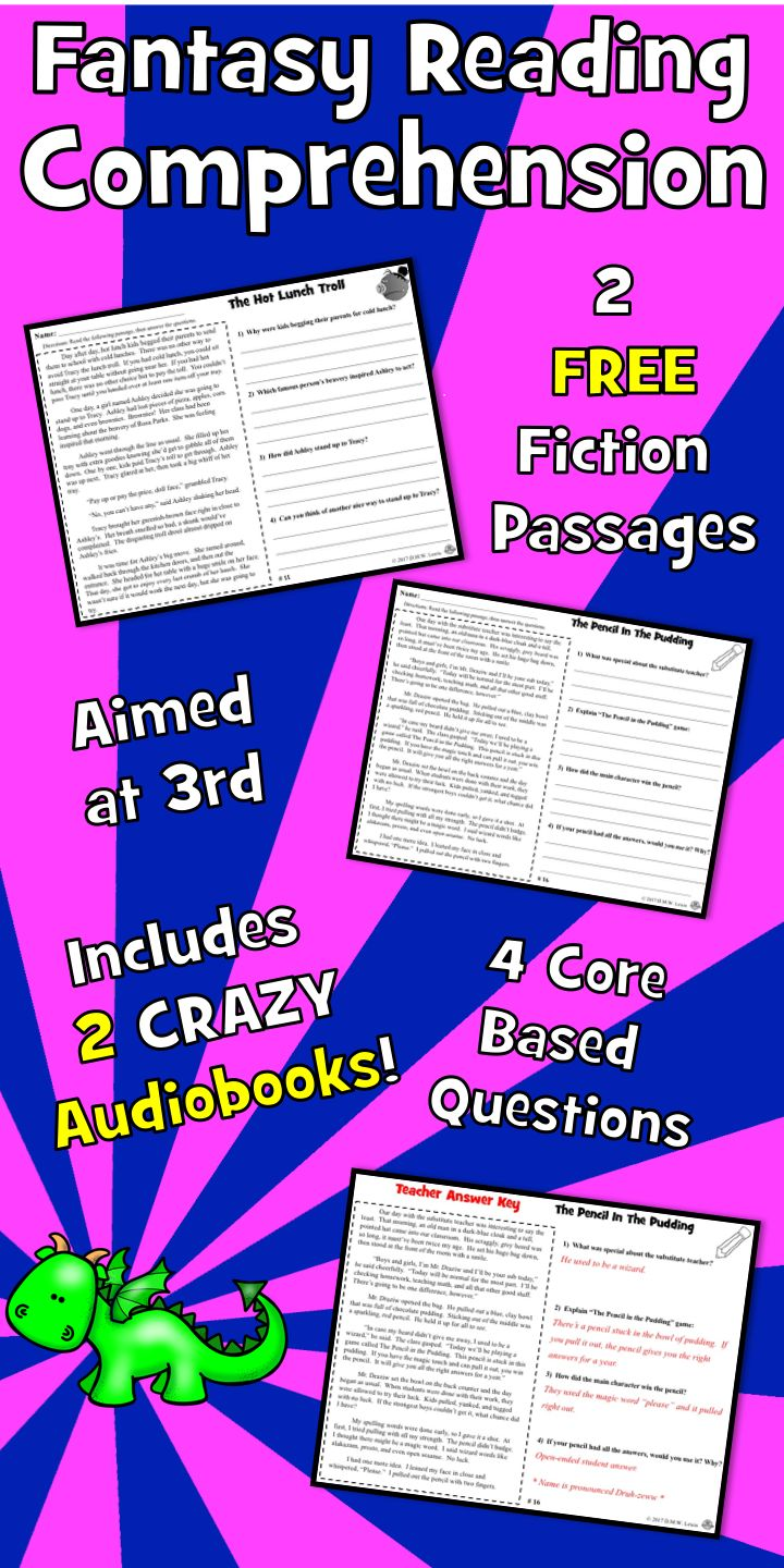 2 SAMPLE FANTASY reading comprehension passages plus 2 fully produced  AUDIOBOOKS with four written passage questions