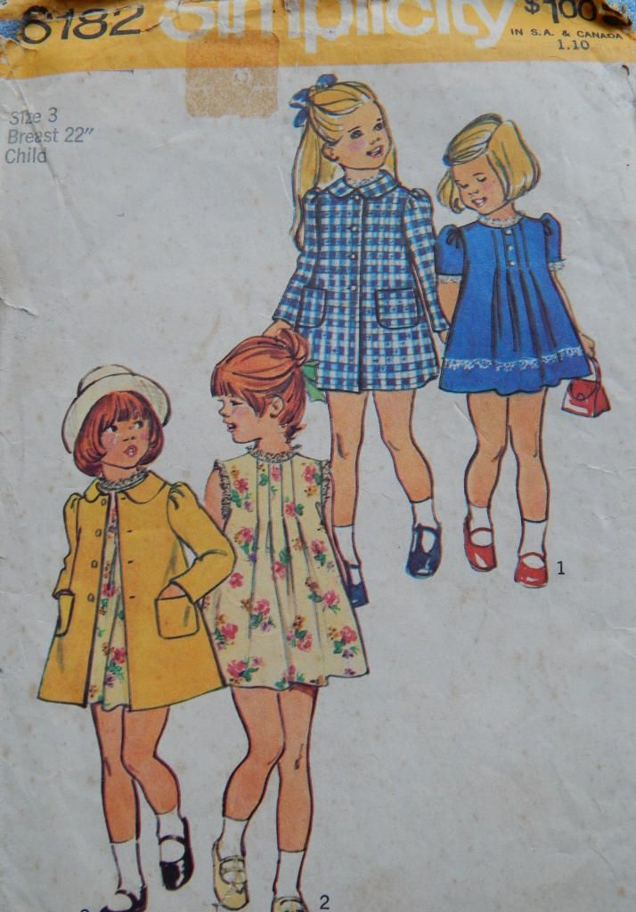 1970s  Vintage sewing pattern Simplicity 6182 Girls Dress and Coat Size 3 by chicpatternstudio on Etsy