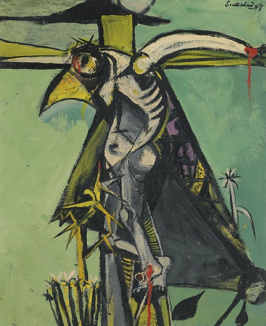 [ S ] Graham Sutherland - The Crucifixion (1947) ; Christianity has been around for so long....Everyone mimics it's teachings....And here's someone somewhat mimicking Picasso. Love it.