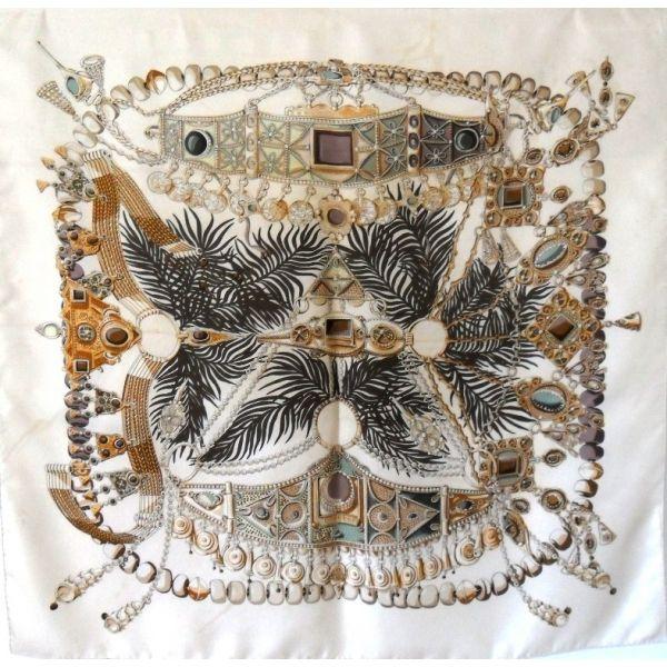 seta, écharpe, sciarpa, Foulard Carré en Soie, seidentuch, hermès, vintage, pas cher, Scarf, terres précieuse