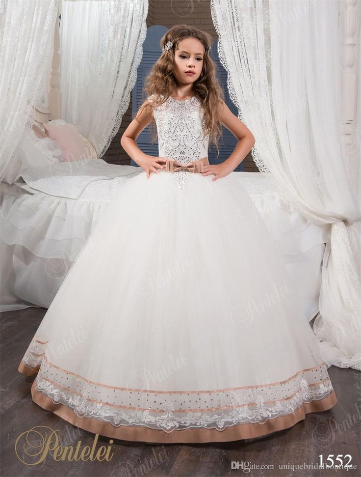 Two Tones Flower Girls Dress 2017 Pentelei With Bling Bling Crystals Details And Lace Up Back Appliques Tulle Princess Girls Birthday Gowns Little Girl Dress Little Girl Outfits From Uniquebridalboutique, $87.99| Dhgate.Com