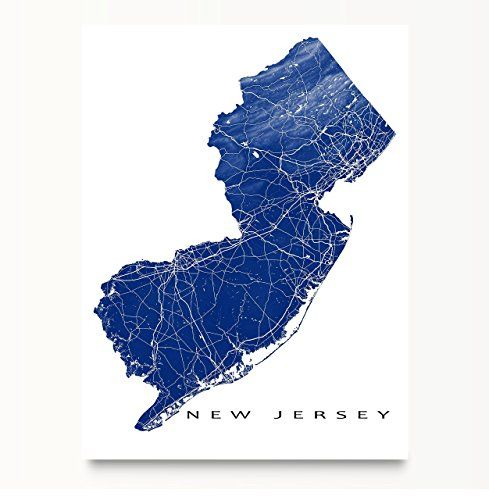 5502bf2c397 New-Jersey-Map-Art-Print-NJ-State-Outline-USA-Poster-Jersey-City ...