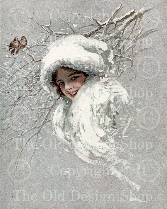 SNOWBIRDS SNOW QUEEN Harrison Fisher Vintage Image for Cardmaking Altered Art Mixed Media Scrapbooking Digital Download