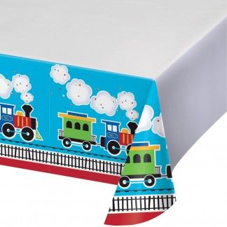All Aboard Plastic Tablecloth | 1st All Aboard Boy First Birthday Party Supplies | Trains Party Supplies - Discount Party Supplies