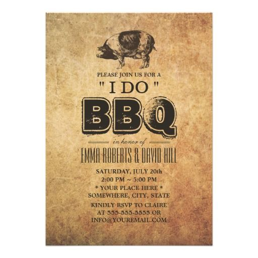 "Vintage Pig Roast ""I Do"" BBQ Wedding Invite.  $2.00 #BBQWedding #BBQweddinginvites #weddingivitations"