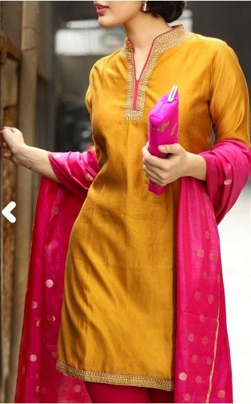 Silk Cotton Achkan Embroidery Mini Kurta