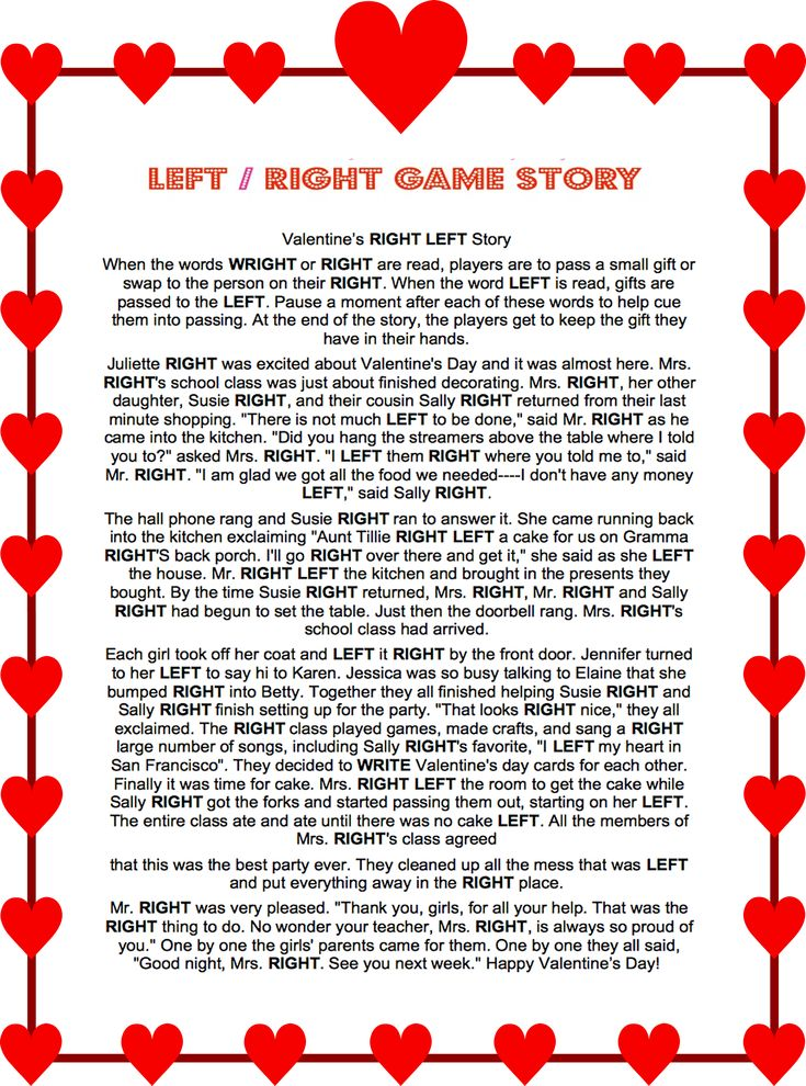 Valentines Day Left RIght Story Game #Valentines #Left #Right #Game