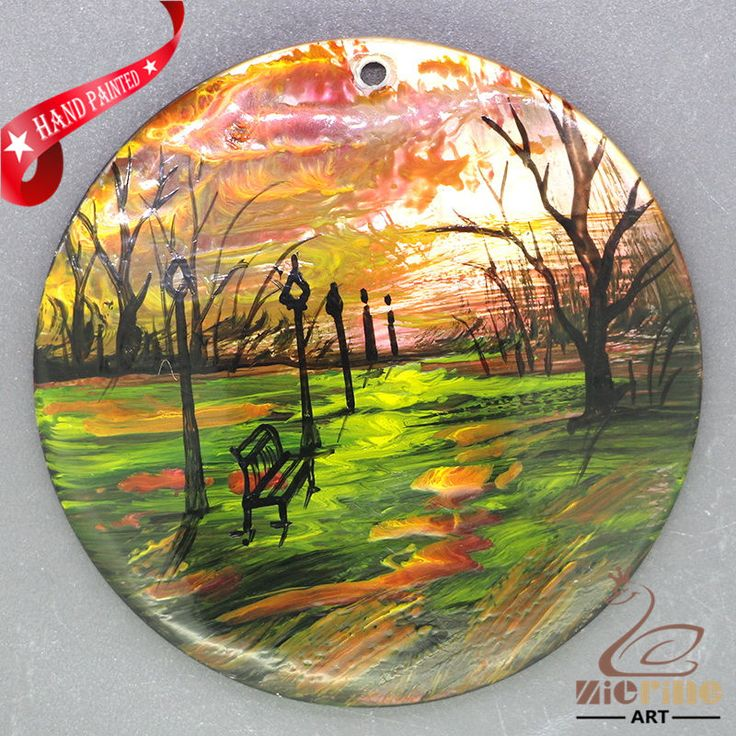 Art  Abstract Scenery Painting Hand Painted Pendant  Black Lip Shell ZL303747 #ZL