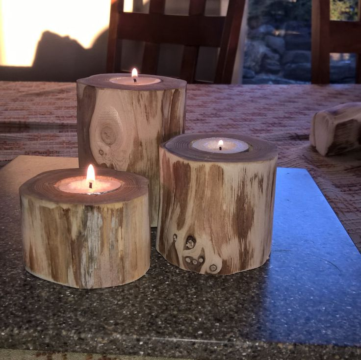 Rustic Cedar Tea Light Candle Holder Set
