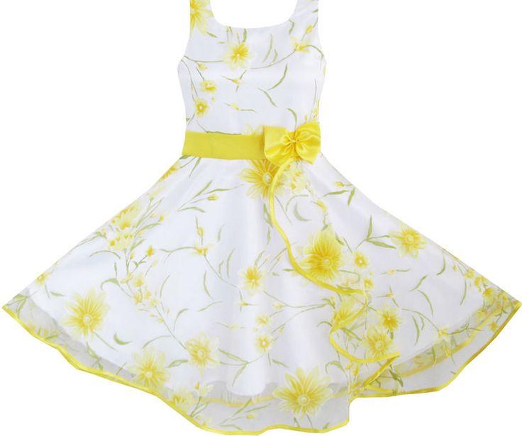 Mädchen Kleid 3 Schichten Sonnenblume Welle Festzug Brautjungfer Kids Kleidung