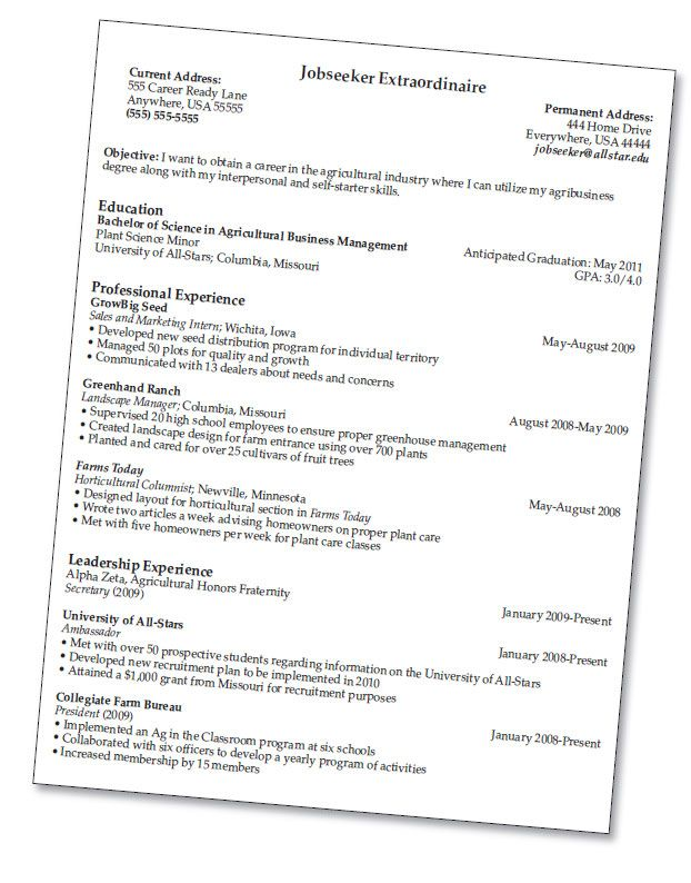 resume for agriculture jobs - Vatoz.atozdevelopment.co