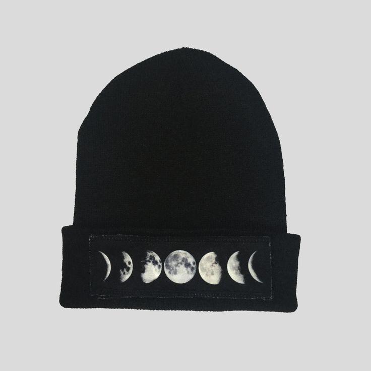 Lunar Moon Style Winter Beanie Headwear Hipster Indie Swag Dope Hype Black Hat Beanie Mens Womens Cute Slouchy Hat Space Lunar Cycle by IIMVCLOTHING on Etsy
