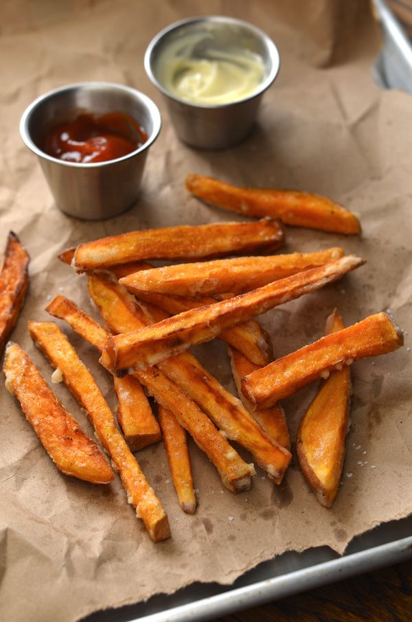 Crispy Sweet Potato Fries Recipe  Prep time  30 mins    Cook time  35 mins  Total time  1 hour 5 mins  Serves: 2-3  Ingredients      2 medium sized sweet potatoes      cornstarch for batter      oil for frying (peanut, vegetable, or canola)      seasonings (paprika, pepper, salt)