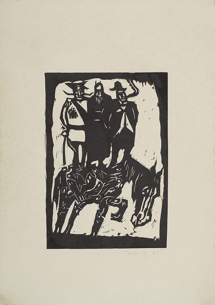 Jerzy Duda Gracz | TRZEJ NA KONIU, Z CYKLU JUDAICA, 1965 | drzeworyt, papier | 20.5 x 14.3 cm