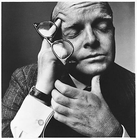 Irvin Penn. Truman Capote, New York, shot 1965, printed 1968.Platinum-palladium print. 40.2 x 39.2 cm.