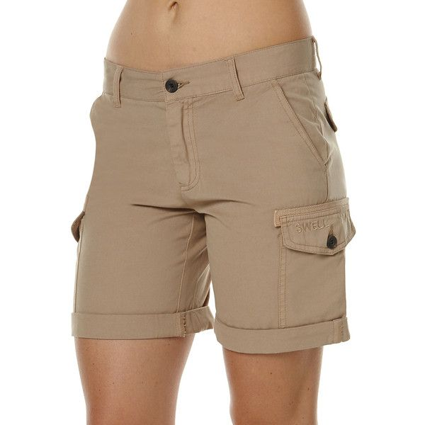 Swell Pioneer Womens Cargo Shorts ($36) ❤ liked on Polyvore featuring shorts, brown, cargo shorts, women, relaxed fit cargo shorts, relaxed shorts, brown shorts and short cargo shorts