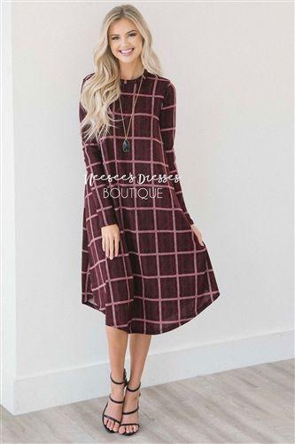 Burgundy Long Sleeve Plaid Swing Dress