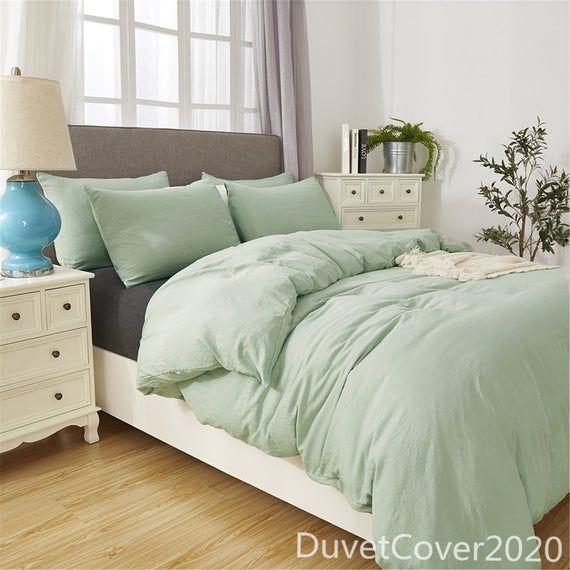 Duvet Cover Twin Queen King Wosingmyeon Solid Color Duvet Etsy Sage Green Bedroom Green Bedding Light Green Bedrooms