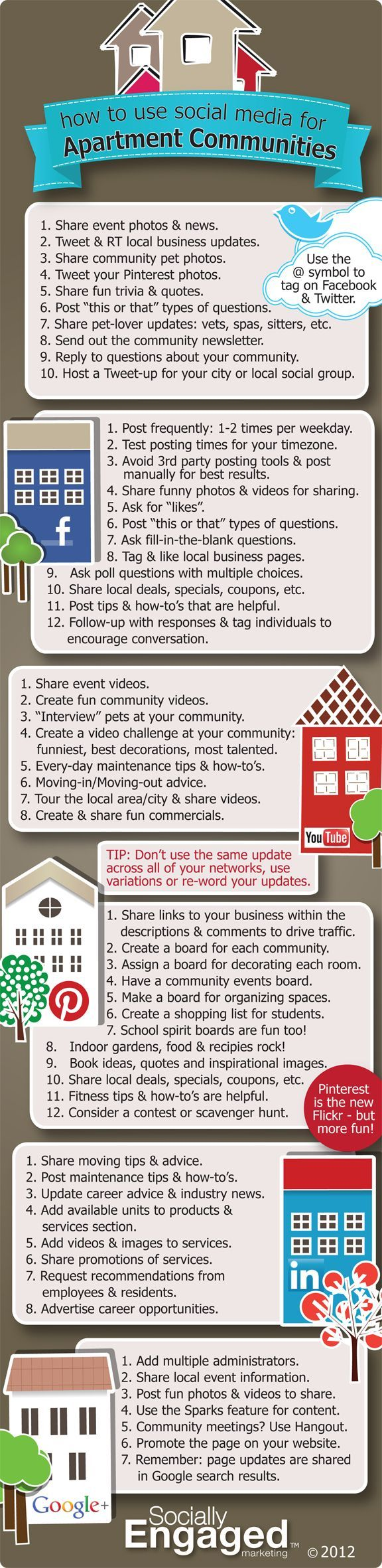 How To Use Social Media For Apartment Communities - Infographic (hey, I know the creator on this one...hello Charity Hisle at Socially Engaged Marketing!)