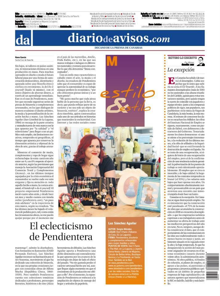 Pendientera en el periódico Diario de Avisos de Tenerife