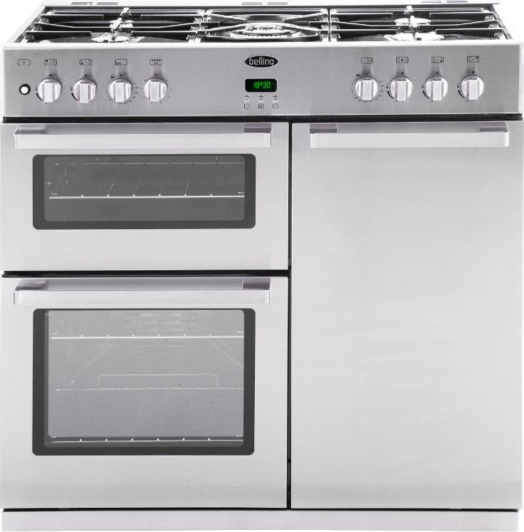 belling db490dft stainless steel 90cm dual fuel range cooker