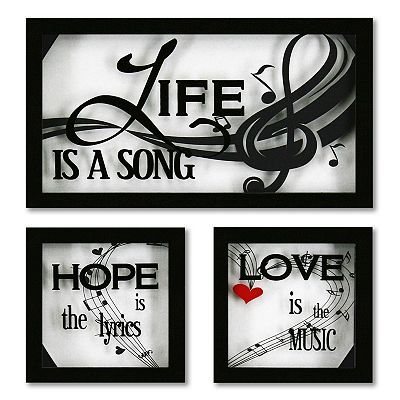 3-pc. Life Is A Song Framed Glass Wall Decor Set