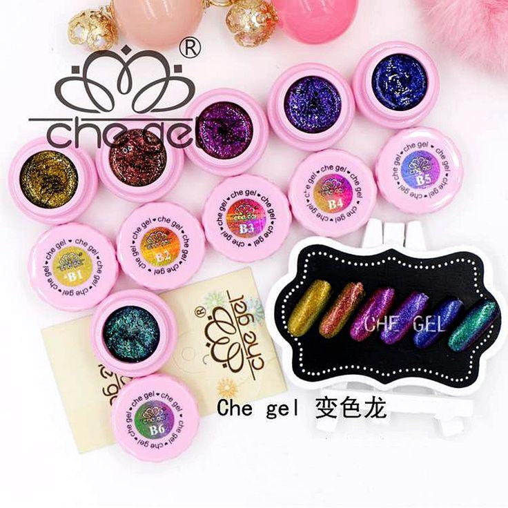 New 6 Colors 3G CHE Glitter Color Changing Gel Soak Off LED UV Nail Art Polish Manicure Gel DIY Salon Tips