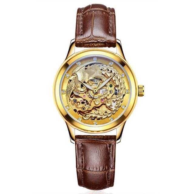 Luxury Brand Watches Women Automatic Mechanical Watches For Woman Gold Phoenix Mechanical Watch Waterproof  Relogio  Masculino