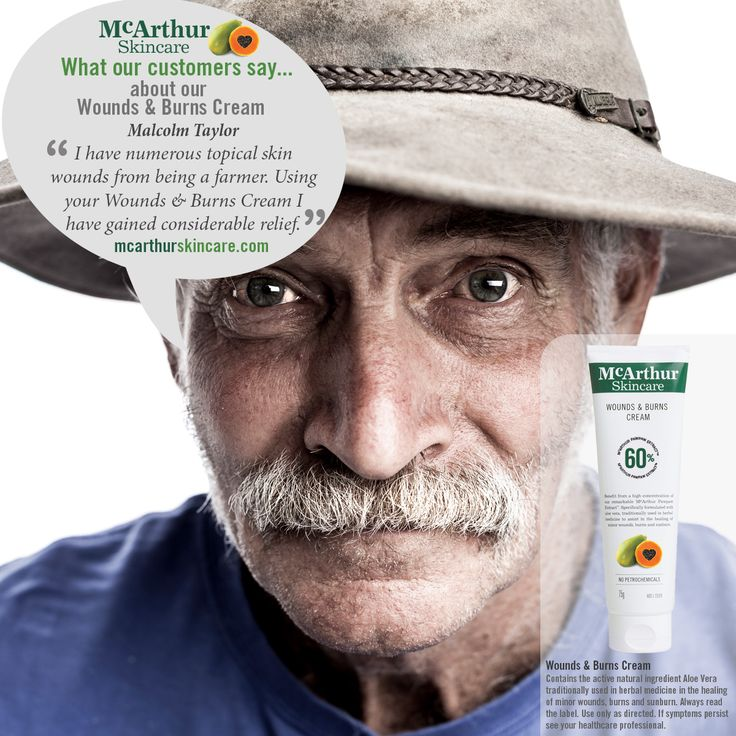 "What aussie customers say about our McArthur Skincare Wounds & Burns Cream...  Malcolm Taylor – Wounds & Burns Cream ""I have numerous topical skin wounds from being a farmer. Using your Wounds & Burns Cream I have gained considerable relief.""  McArthur Skincare Wounds & Burns Cream contains the active natural ingredient Aloe Vera traditionally used in herbal medicine in the healing of minor wounds, burns and sunburn.  Always read the label. Use only as directed. If symptoms persist see your…"