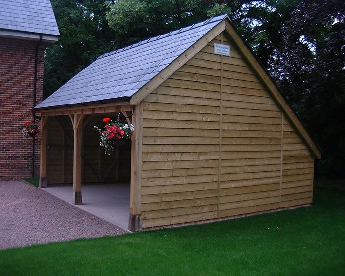 Timber garages and carports woodworking projects plans for Garage with carport plans
