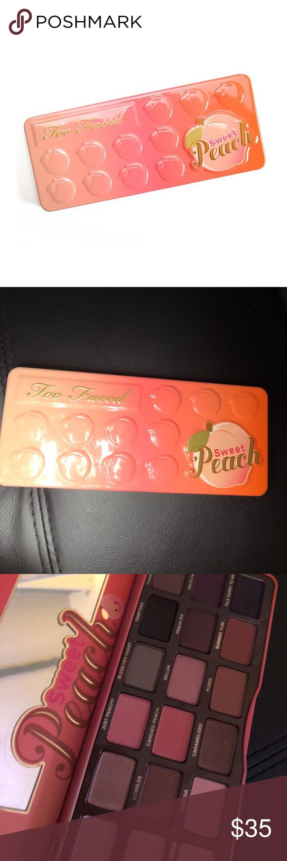 Too Faced Sweet Peach Palette Authentic! I bought 2 off these because they were sold out so long, they are no longer limited edition and I don't use the first as much as I thought I would so no need to have 2. Purchased from Sephora. Doesn't come with box or tutorials, and I will be recording myself packing and shipping items at the post office🍑No trades. Price is firm. Bundle and save on shipping. Too Faced Makeup Eyeshadow