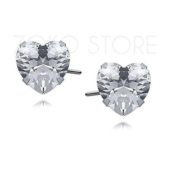 Srebrne kolczyki sztyfty z cyrkoniami w kształcie serca <3 #kolczyki